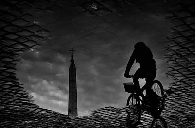 Puddle Photograph - IIn The Town Square. by Antonio Grambone