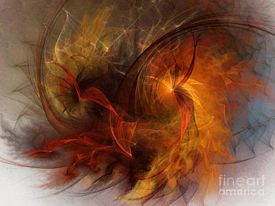 Abstract Expressionism Wall Art - Digital Art - Ikarus by Karin Kuhlmann