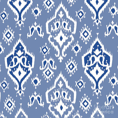 Pattern Digital Art - Ikat Wall Art Print by Ramneek Narang