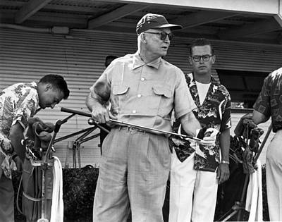 U.s. Navy Photograph - Ike Plays Golf In Hawaii by Underwood Archives