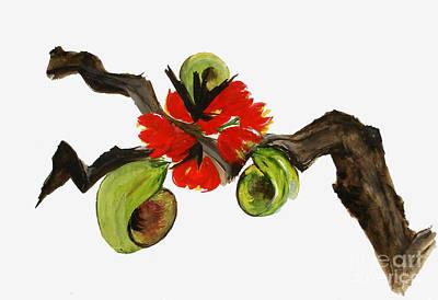 Ikebana - Red N Green Art Print by Sibby S
