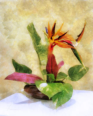Ikebana Bird Of Paradise Art Print