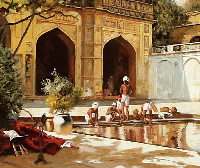 India Painting - Il Bagno by Guido Borelli