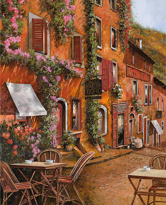 Curated Round Beach Towels - Il Bar Sulla Discesa by Guido Borelli