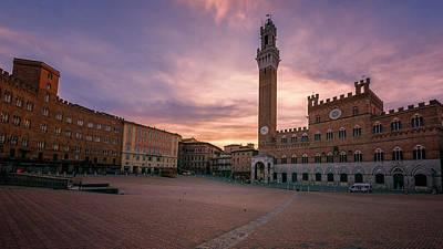 Photograph - Il Campo Dawn Siena Italy by Joan Carroll