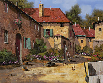 Burgundy Painting - Il Carretto by Guido Borelli