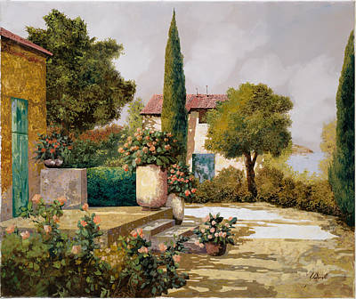 Courtyard Painting   Il Cipresso By Guido Borelli