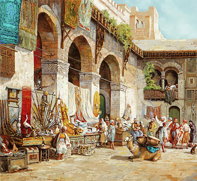 Camel Wall Art - Painting - Il Mercato Arabo by Guido Borelli