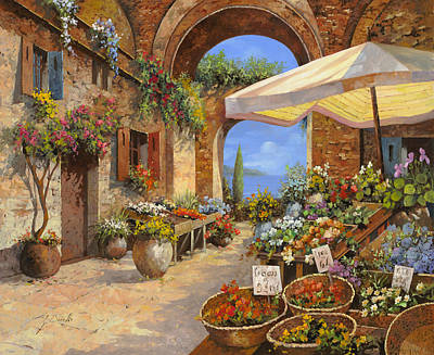 Orange Painting - Il Mercato Del Lago by Guido Borelli