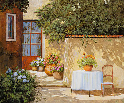 Table Painting - Il Muretto E Il Tavolo by Guido Borelli