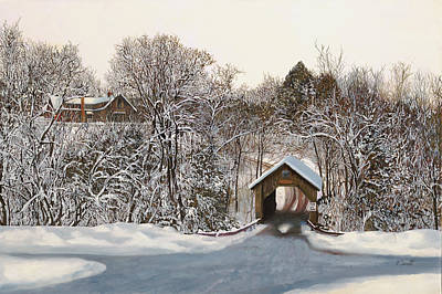 Army Posters Paintings And Photographs - Il Ponte Coperto Di Legno by Guido Borelli