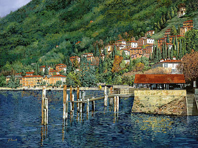 il porto di Bellano Art Print by Guido Borelli