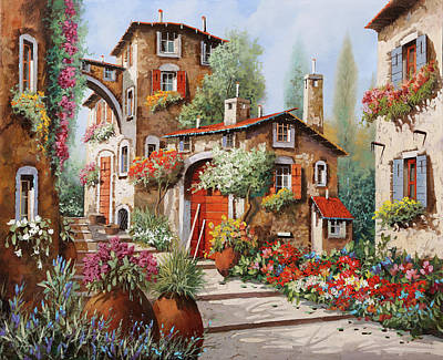 Painting Rights Managed Images - Il Villaggio Royalty-Free Image by Guido Borelli