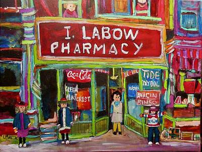 Painting - I. Labow Pharmacy by Michael Litvack