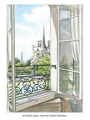 Painting - Ile Saint Louis, Paris Poster by Glenn Tunstull