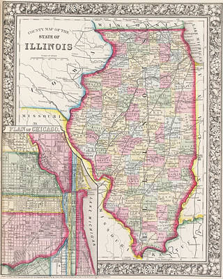 Digital Art - Illinois 1800s Historical Map Color by Toby McGuire