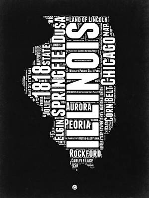 University Of Illinois Digital Art - Illinois Black And White Word Cloud Map  by Naxart Studio