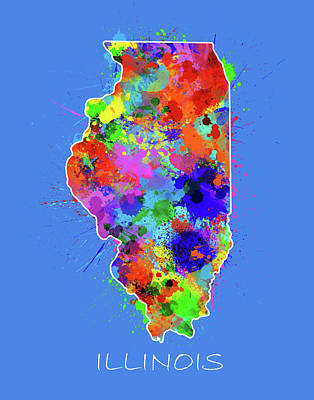 Splatter Digital Art - Illinois Map Color Splatter 2 by Bekim Art