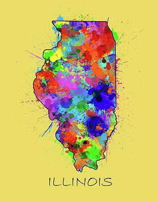 Splatter Digital Art - Illinois Map Color Splatter 3 by Bekim Art