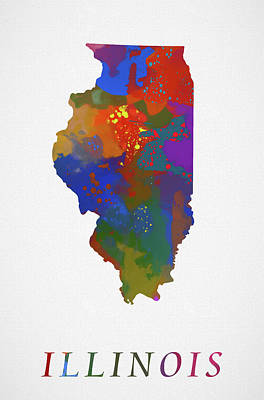 Painting - Illinois Map by Dan Sproul