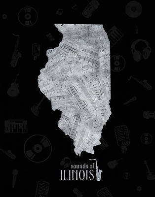 Music Royalty-Free and Rights-Managed Images - Illinois Map Music Notes 2 by Bekim Art