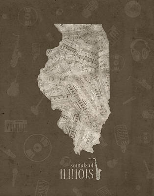Music Royalty-Free and Rights-Managed Images - Illinois Map Music Notes 3 by Bekim Art