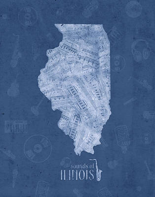 Music Royalty-Free and Rights-Managed Images - Illinois Map Music Notes 4 by Bekim Art
