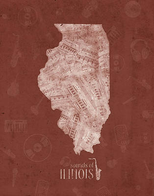 University Of Illinois Digital Art - Illinois Map Music Notes 5 by Bekim Art