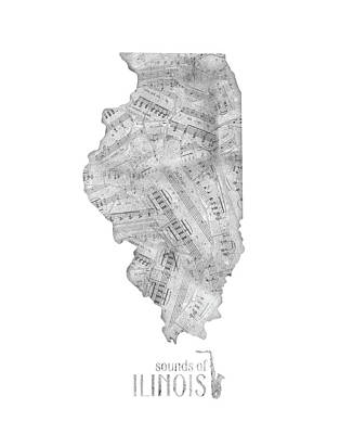 Jazz Royalty-Free and Rights-Managed Images - Illinois Map Music Notes by Bekim Art