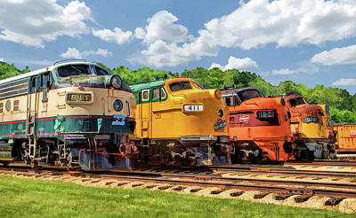 Painting - Illinois Railway Museum Diesel Locomotives by Christopher Arndt
