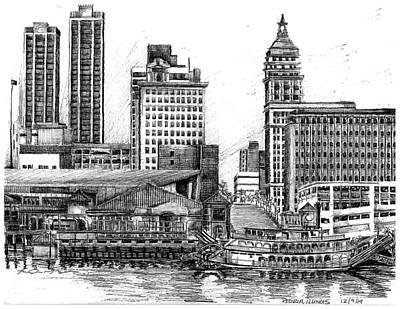 Streetscape Drawing - Illinois River by Theresa Mozinski