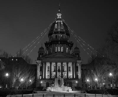 Columns Photograph - Illinois State Capitol B W by Steve Gadomski