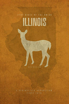 University Of Illinois Mixed Media - Illinois State Facts Minimalist Movie Poster Art by Design Turnpike