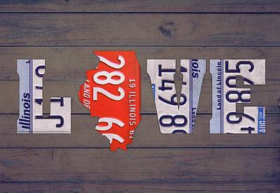 University Of Illinois Mixed Media - Illinois State Love License Plate Art Phrase by Design Turnpike