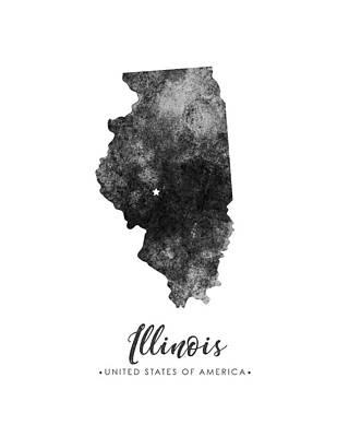Geography Mixed Media - Illinois State Map Art - Grunge Silhouette by Studio Grafiikka