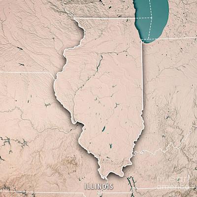 Illinois State Usa 3d Render Topographic Map Neutral Border Art Print