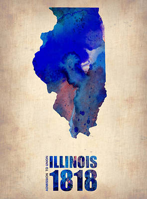 University Of Illinois Digital Art - Illinois Watercolor Map by Naxart Studio