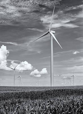 Poer Photograph - Illinois Wind Turbines Black And White by Matt Hammerstein