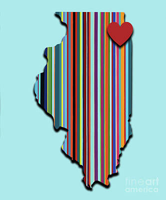 Mixed Media - Illinois With Love Geometric Map by Carla Bank