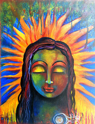 Art Print featuring the mixed media Illuminated By Her Own Radiant Self by Prerna Poojara