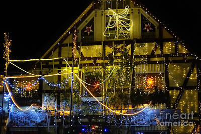 Photograph - Illuminated Christmas-house by Eva-Maria Di Bella