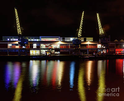 Photograph - Illuminated Cranes by Colin Rayner