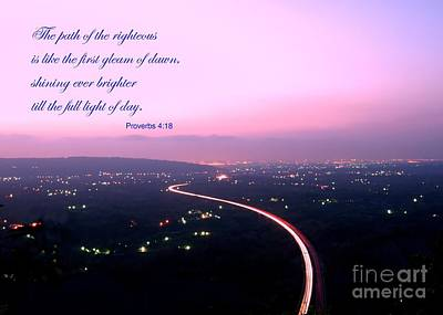 Photograph - Illuminated Highway At Dusk - Greeting Card With Scripture Verse by Yali Shi