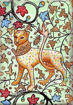 Illuminated Leopard Wearing Crown Around Its Neck Original