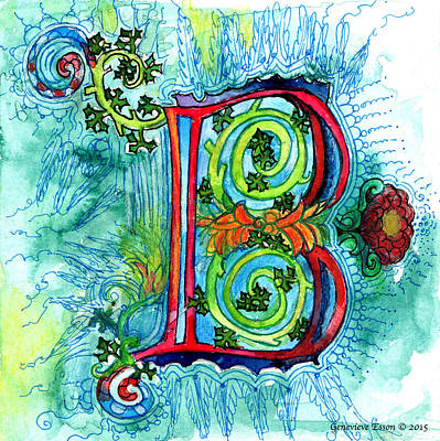 Illuminated Letter B Original by Genevieve Esson