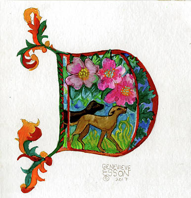 Painting - Illuminated Letter D by Genevieve Esson