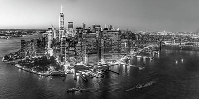 Illuminated Lower Manhattan Nyc Bw Art Print