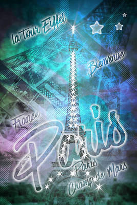 Illuminated Pop Art Eiffel Tower Graphic Style Art Print by Melanie Viola