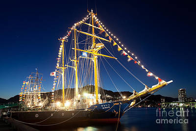 Photograph - Illuminated Sailing Ship by Aiolos Greek Collections