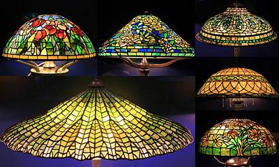 Photograph - Illuminated Tiffany Lamps - A Collage by Dora Sofia Caputo Photographic Design and Fine Art